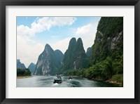 China, Guilin, Li River, Boats along the River Fine-Art Print