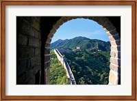 China, Huairou, Mutianyu, Great Wall, turret window Fine-Art Print