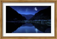 Moon rising over tranquil lake and forest against starry sky, Bulgaria Fine-Art Print