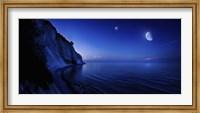 Moon rising over tranquil sea and Mons Klint cliffs, Denmark Fine-Art Print