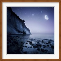 Rising moon over ocean and mountains against starry sky Fine-Art Print