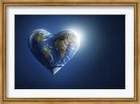 Heart-shaped planet Earth on a dark blue background Fine-Art Print