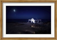 A small church at night with starry sky, Crete, Greece Fine-Art Print