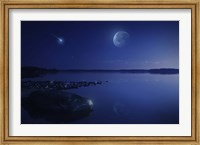 Starry sky, moon and falling meteorite over a lake, Finland Fine-Art Print