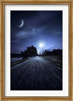 A road in a park at night against moon and moody sky, Moscow, Russia Fine-Art Print