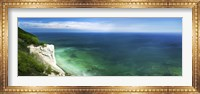 Aerial view of chalk mountain and sea, Mons Klint cliffs, Denmark Fine-Art Print