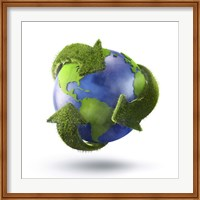 3D Rendering of planet Earth surrounded by grassy recycle symbol Fine-Art Print
