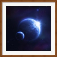 Earth and moon in outer space with rising sun and flying meteorites Fine-Art Print