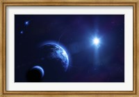 Planet Earth and its moon in outer space Fine-Art Print