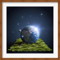 Planet Earth lying on a green lawn with moon and stars Fine-Art Print
