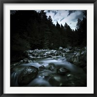 Small river flowing over stones covered with moss, Pirin National Park, Bulgaria Fine-Art Print