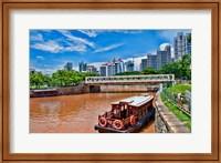 Singapore skyline and tug boats on river. Fine-Art Print