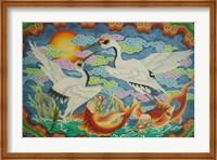 Taiwan, Peimen, Nankunshen Temple, Ceiling mural of cranes and catfish Fine-Art Print