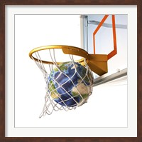 3D Rendering of Planet Earth Falling Into a Basketball Hoop Fine-Art Print