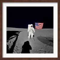 Apollo 14 Astronaut Stands by the American Flag on the Lunar Surface Fine-Art Print