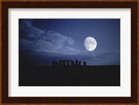 Composite of the Moon over Stonehenge, Wiltshire, England Fine-Art Print