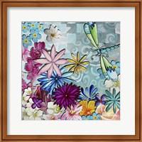 Aqua Brown Background Floral Fine-Art Print