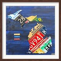 Michigan Blue License Plate Map Fine-Art Print