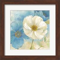 Watercolor Poppies I (Blue/White) Fine-Art Print
