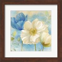 Watercolor Poppies II (Blue/White) Fine-Art Print