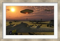 Alien UFO Flying over an American Airbase Fine-Art Print
