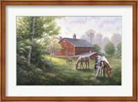 Country Road W/ Horses/Barn Fine-Art Print