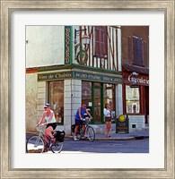 Wine Shop and Cycling Tourists, Chablis, France Fine-Art Print