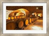 Oak Barrels in Cellar at Domaine Comte Senard Fine-Art Print