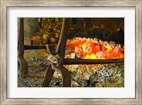 Fireplace with a Burning Log on a Truffle Farm Fine-Art Print