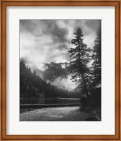 Mountains And Clouded Sky Behind Trees Fine-Art Print