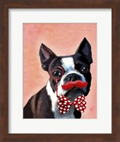 Boston Terrier Portrait with Red Bow Tie and Moustache Fine-Art Print