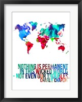 World Map Quote Charlie Chaplin Fine-Art Print