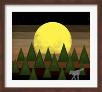 Nighttime In The Forest With Wolf Fine-Art Print