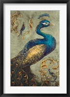 Peacock on Sage I Fine-Art Print