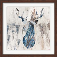 Blue Rhizome Deer Bust Fine-Art Print