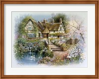 Cottage Scene With Swan Fine-Art Print