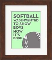 Softball Quote - Grey On Mint Fine-Art Print