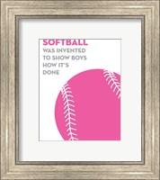 Softball Quote - Pink on White Fine-Art Print