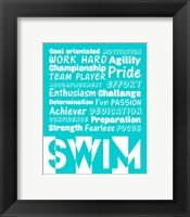 Swimming Word Cloud - White Fine-Art Print
