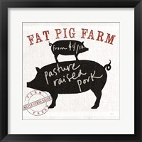 Farm Linen Pig Black Fine-Art Print