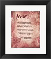 Corinthians 13:4-8 Love is Patient - Pink Floral Fine-Art Print