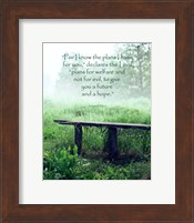 Jeremiah 29:11 For I know the Plans I have for You (Wooden Bench) Fine-Art Print