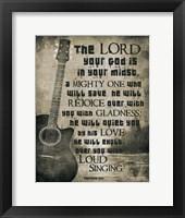 Zephaniah 3:17 The Lord Your God (Guitar Sepia) Fine-Art Print