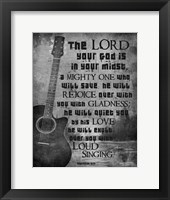 Zephaniah 3:17 The Lord Your God (Guitar Black & White) Fine-Art Print