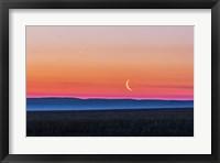Moon and Venus rising over the flat prairie horizon of Alberta, Canada Fine-Art Print