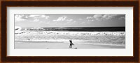Surfer standing on the beach, North Shore, Oahu, Hawaii BW Fine-Art Print