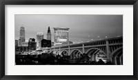 Bridge in a city lit up at dusk, Detroit Avenue Bridge, Cleveland, Ohio Fine-Art Print