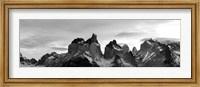 Snowcapped mountain range, Paine Massif, Torres del Paine National Park, Patagonia, Chile Fine-Art Print