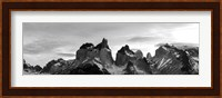 Snowcapped mountain range, Paine Massif, Torres del Paine National Park, Patagonia, Chile Fine-Art Print