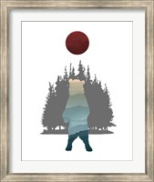 Blue Ombre Mountains in Standing Bear Silhouette Fine-Art Print